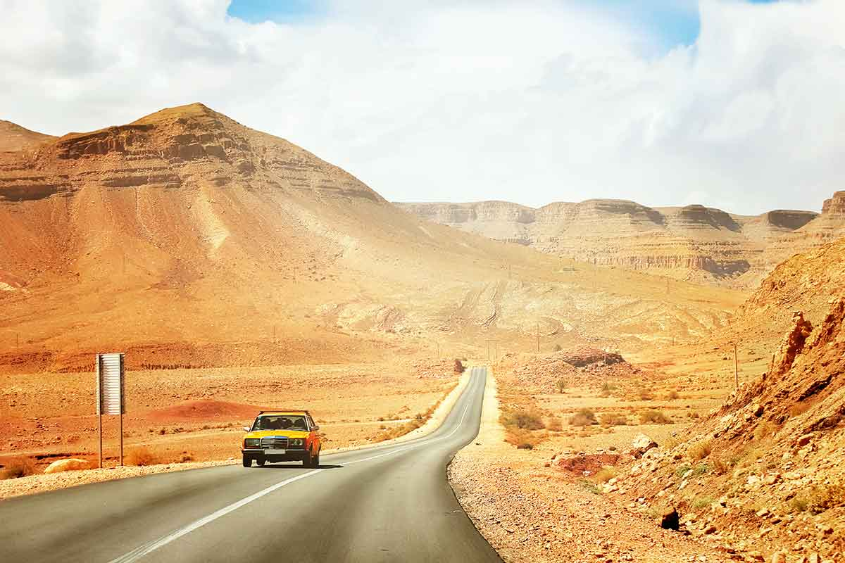 Precaución carretera de Marruecos